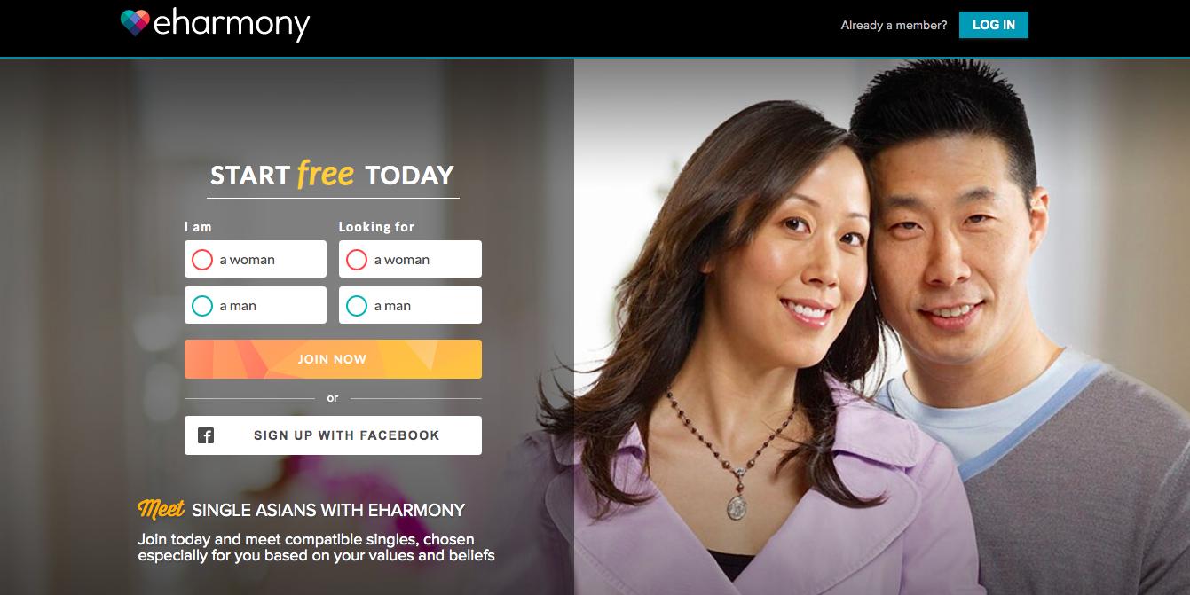 eHarmony asian main page