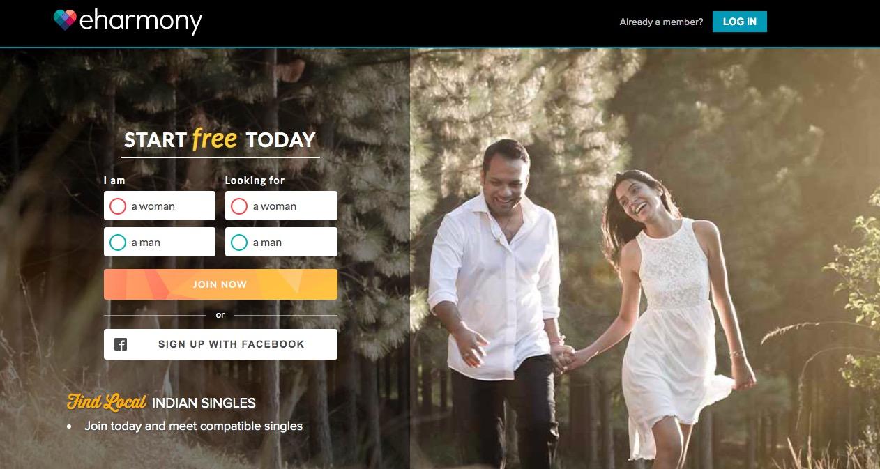 eHarmony indian main page