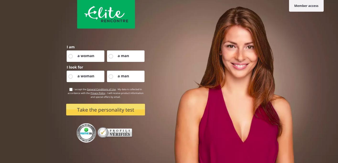 EliteRacontre main page