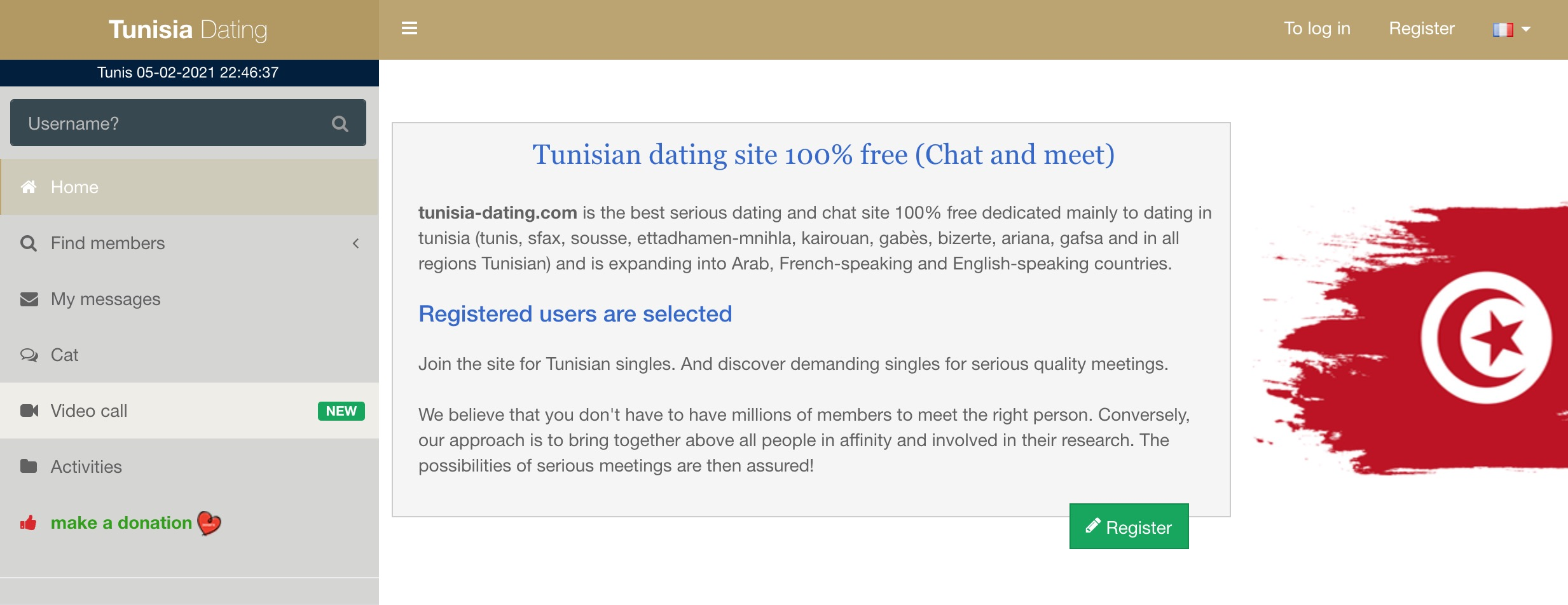 TunisiaDating main page